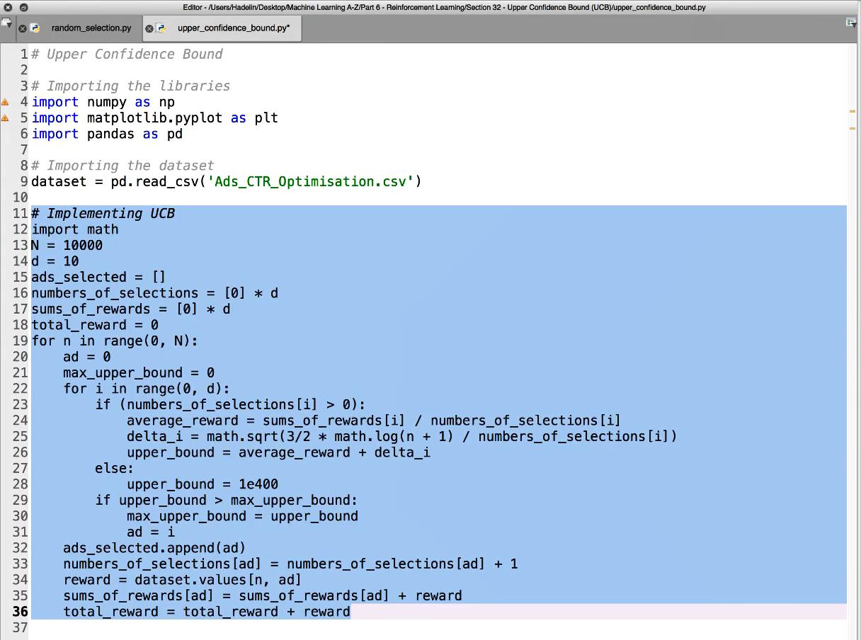 Maschinenlernen. Reinforcement Learning. Upper Confidence Bound – Die Umsetzung in Python